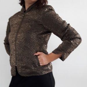 Ruched Cloth Evening Blazer Jacket Zipper Closure